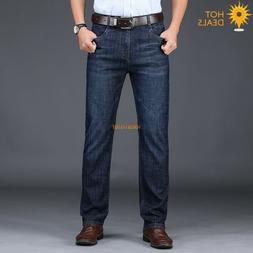 Spring Men`s Denim Pants High Waist Dark Blue Stretch Straig