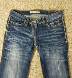 BKE Denim Stella Blue Distressed Boot Cut Jeans Size 26 X 33