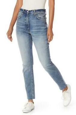 Free People Stella Skinny Jeans- High-Rise Raw Hem Ankle - M