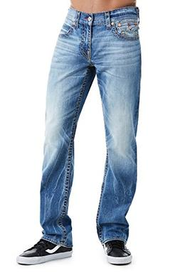 True Religion Men's Straight Leg Relaxed Fit Red Big T Jeans