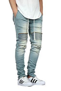 KDNK Men's Stretch Ankle Zipper Biker Denim Jogger Pants - 2