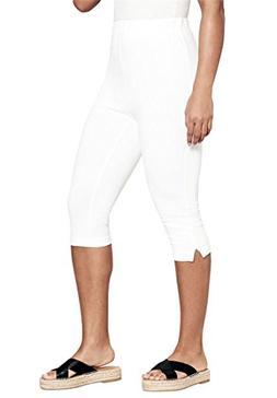 Roamans Women's Plus Size Stretch Capri Leggings White,2X
