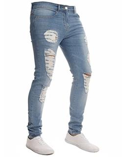 XARAZA Men's Stretchy Ripped Skinny Biker Jeans Slim Fit Den