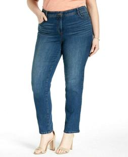 Style&co Jeans Blue Embroidered Pocket High Rise Stretch Siz