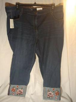 Style & Co. Womens Jeans Blue Size 24W Plus Slim Ankle Flora