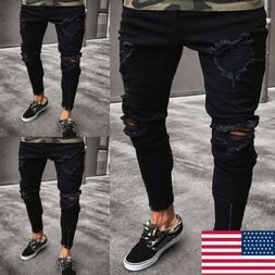 Stylish Men's Ripped Skinny Jeans Destroyed Frayed Slim Fit