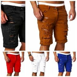 Summer Men Ripped Skinny Casual Flat Front Lounge Imitation