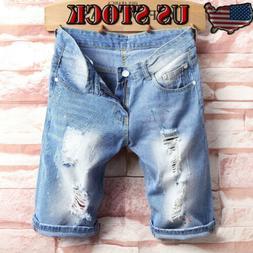 Summer Men's Distressed Rip Colored Jean Short Pant Denim Ri