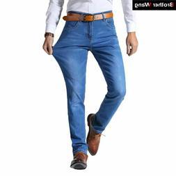 Summer Men's Jeans Business Casual Stretchy Slim Denim Trous