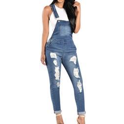Fashion Women Straps Jumpsuit Jeans Hole Bib Pants Overalls