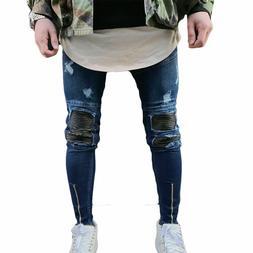 Trendy Men Retro Stretchy Skinny Distressed Pants Knee Zippe