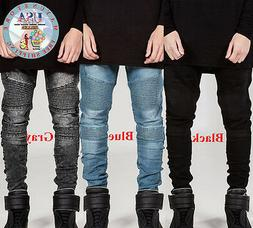 Trendy Men's Skinny Jeans Biker Slim Trousers Denim Straight