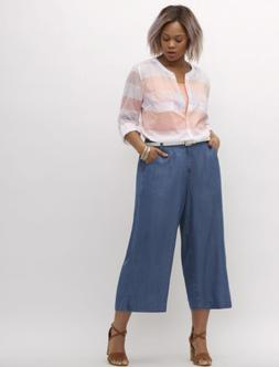 Lane Bryant Ultra Light Denim Wide Leg Crop Jeans Womens Plu