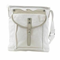 Armani Jeans Unisex White Leather Trimmed Cross Body Messeng