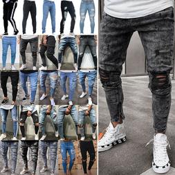 Mens Ripped Biker Jeans Skinny Destroyed Frayed Trousers Sli