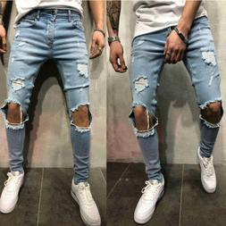 US Men Skinny Slim Fit Jeans Ripped Denim Punk Knee Destroye