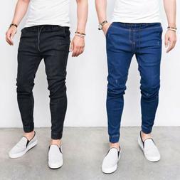 US Men Slim Fit Skinny Stretchy Jeans Drawstring Pant Biker