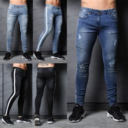 US Slim Destroyed Stretchy Ripped Skinny Biker Jeans Men Tap