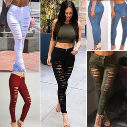 US Women Denim Skinny Ripped Pants High Waist Stretch Jeans