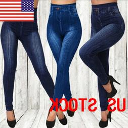 USA Women Leggings Skinny High Waist Jeans Trousers Denim Pe