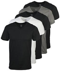 Gildan Men's V-Neck T-Shirts 5 Pack, Multi, Small