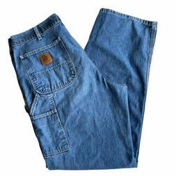 Vintage Carhartt Carpenter 36x34 Blue Jeans Classic Denim Wo