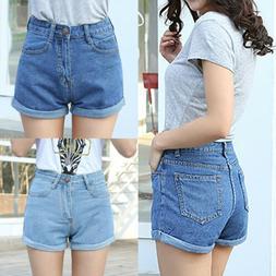 Vintage Womens High Waisted Jeans Shorts Denim Pants Hotpant