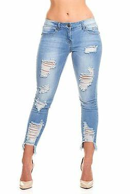 VIP Jeans Ripped Distressed Skinny jeans for women Junior /