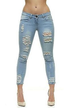 VIP Ripped Distressed Skinny Slim Fit Jeans For Women Jr or