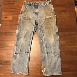 Vtg Carhartt Pants Double Front Blue Work Jeans 32 x 30 Logg