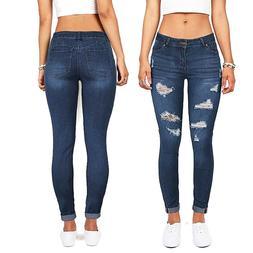 """Wax Denim Women's Distressed Push-Up Skinny Jeans """"BUTT I LO"""