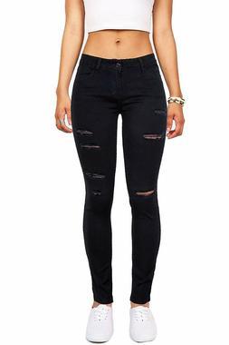 Wax Women's Juniors Mid-Rise Skinny Jegging Jeans w Distress