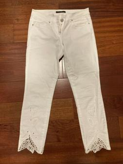 Elie Tahari White Embroidered  Skinny Jeans Size 2