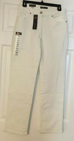 Lee White Straight Leg Relaxed Fit Mid Rise Denim Jeans Size