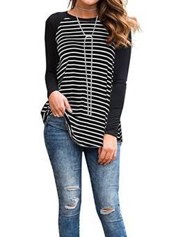 Adreamly Women's Black and White Striped Long Sleeve Basebal