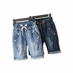 Woman Plus Size Short Ripped Women Denim Lace Up Wide Leg Mi