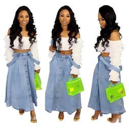 Women Button Denim Jeans Skirt Ladies Strap Blue Casual Long