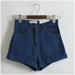 Women Denim Vintage High Waist Cuffed Jeans Shorts Street We