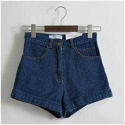 Women Denims Shorts Vintage High Waist Cuffed Jeans Street W