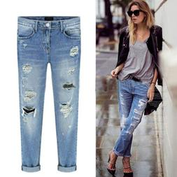 Women Distressed Destroyed Skinny Denim Jeans Ladies Pant Tr