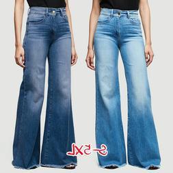 Women Flare Denim Jeans Bell Bottom Wide Leg Pants Hippie Tr