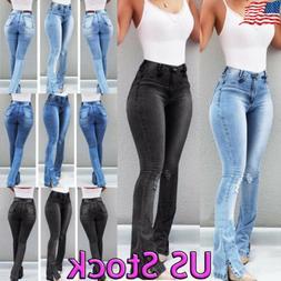 Women High Waist Retro Denim Jeans Stretch Slim Bell Bottom