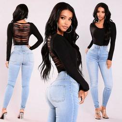 Women High Waisted Denim Jeans Stretchy Skinny Pencil Trouse