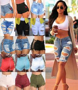 Women High Waisted Jeans Shorts Ripped Destroyed Denim Pants