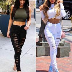 Women Ripped Jeans Denim Pencil Pants High Waist Stretch Lon