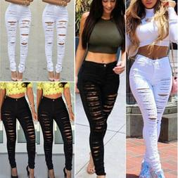 Women Ripped Jeans Skinny Denim Pencil Pants High Waist Stre