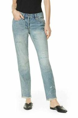 Free People Women's 28X30 Straight Distressed Jeans