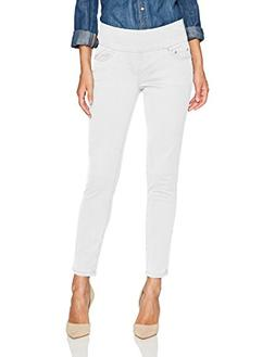 Jag Jeans Women's Amelia Slim Ankle Pull on Jean, White Deni
