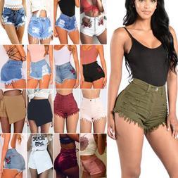 Women's Casual High Waisted Short Mini Jeans Denim Slim Beac