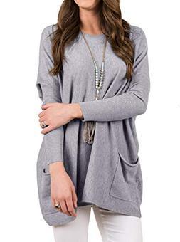 Women's Fall Casual Loose Long Sleeve Tunic Sweatshirt Pullo